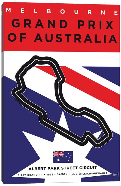 F1 Melbourne Race Track Minimal Poster Canvas Art Print