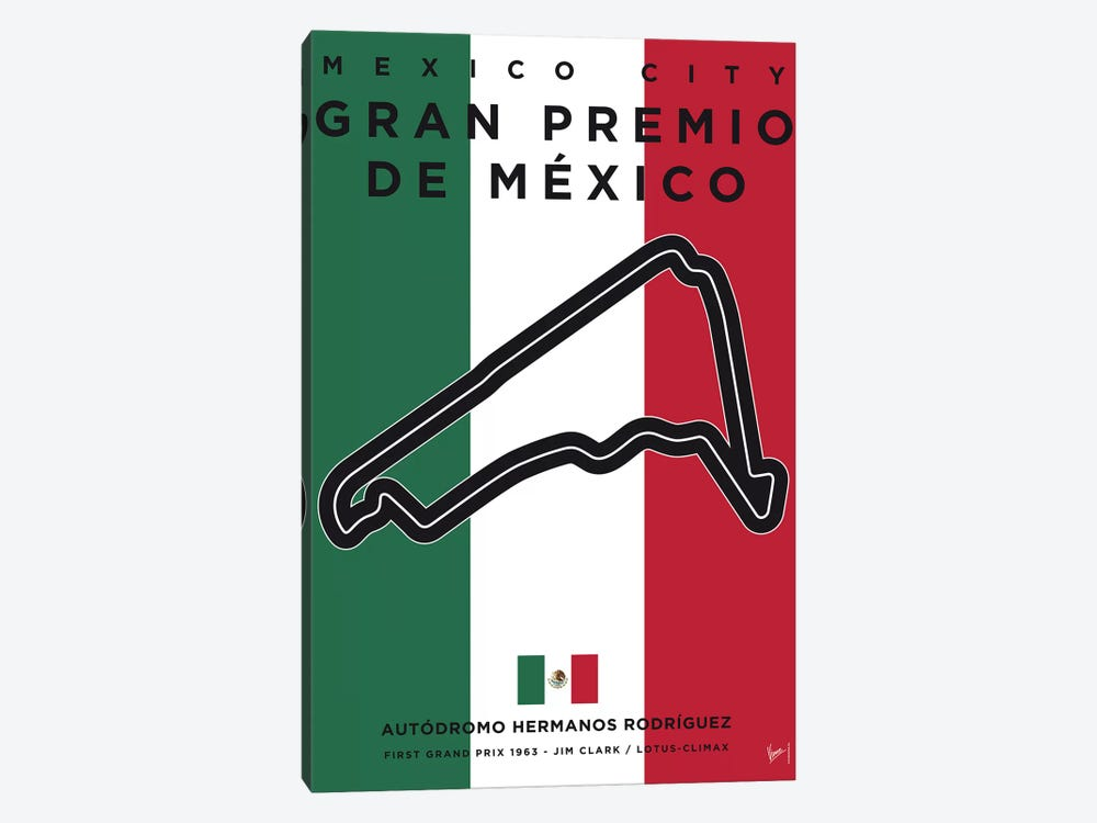 F1 Mexico Race Track Minimal Poster by Chungkong 1-piece Canvas Artwork