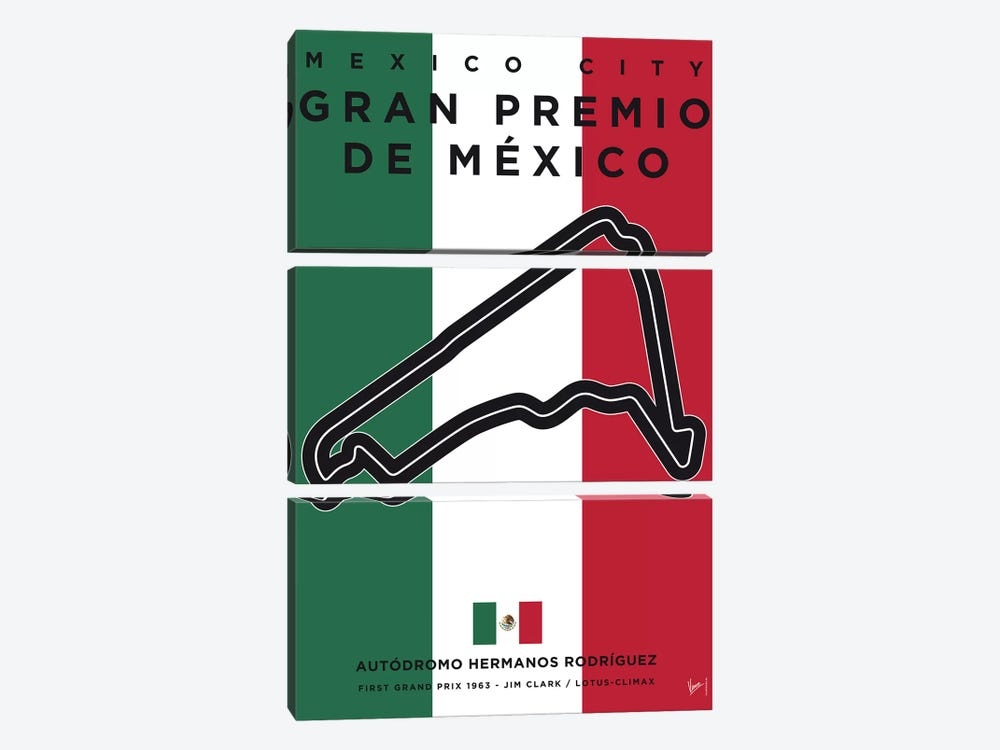 F1 Mexico Race Track Minimal Poster by Chungkong 3-piece Canvas Art