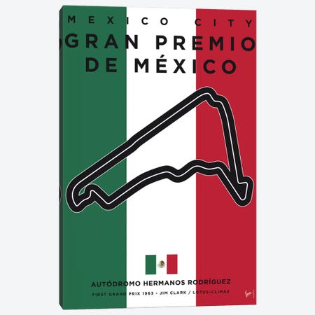 F1 Mexico Race Track Minimal Poster Canvas Print #CKG857} by Chungkong Art Print