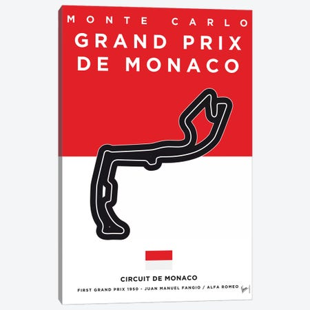 F1 Monaco Race Track Minimal Poster Canvas Print #CKG858} by Chungkong Canvas Wall Art