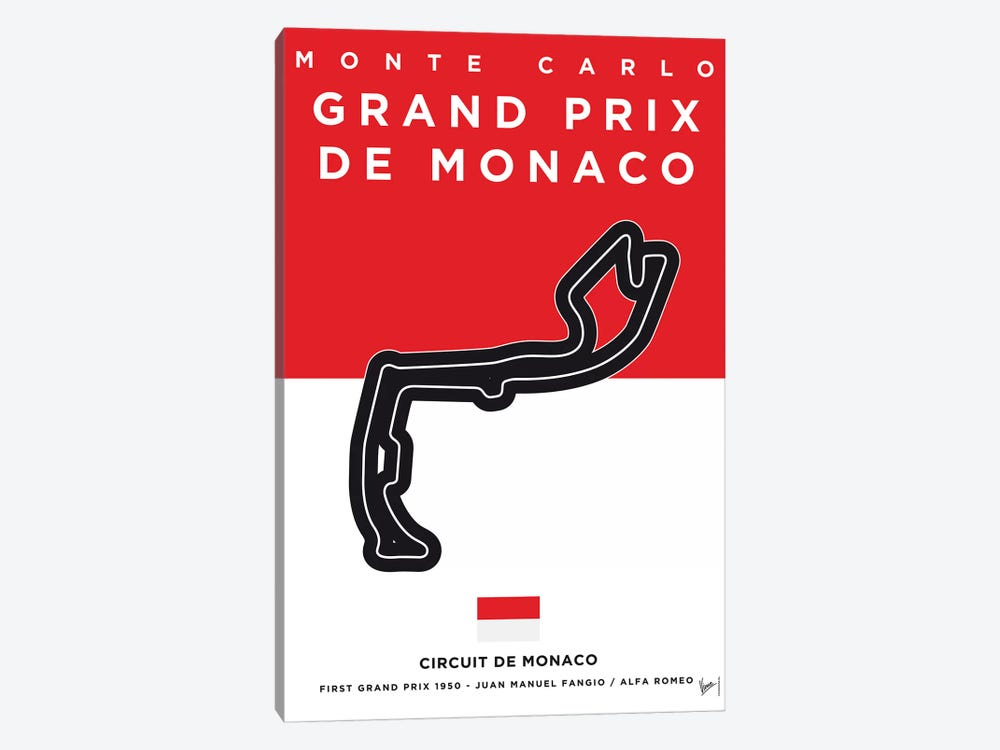 F1 Monaco Race Track Minimal Poster by Chungkong 1-piece Canvas Print