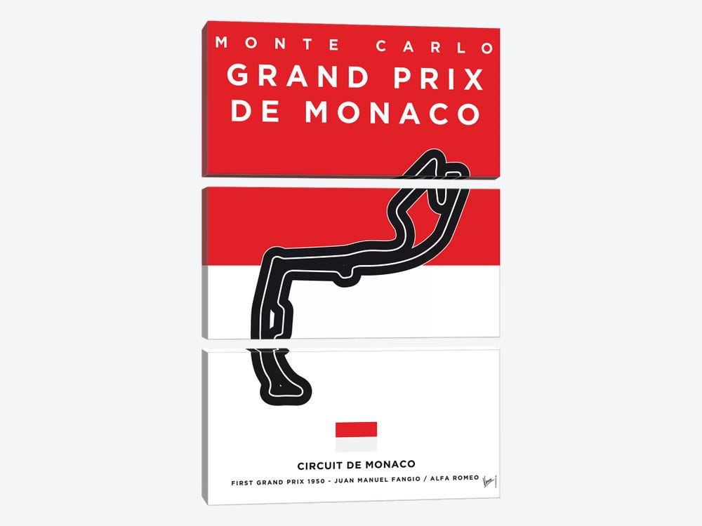 F1 Monaco Race Track Minimal Poster by Chungkong 3-piece Canvas Art Print