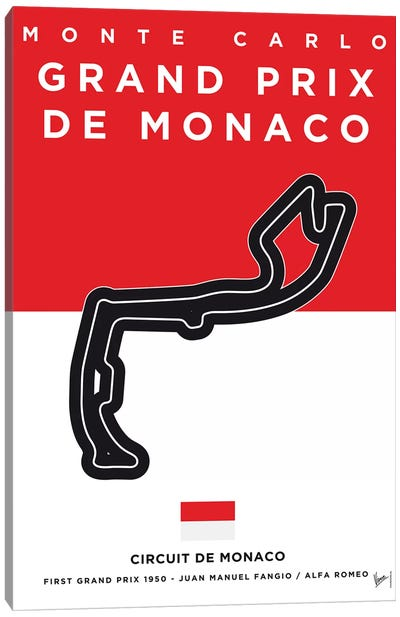 F1 Monaco Race Track Minimal Poster Canvas Art Print