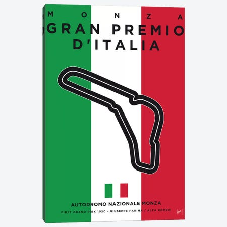 F1 Monza Race Track Minimal Poster Canvas Print #CKG859} by Chungkong Canvas Art