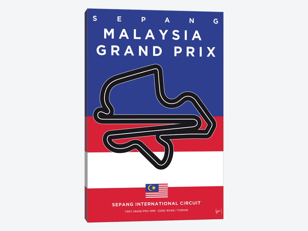 F1 Sepang Race Track Minimal Poster by Chungkong 1-piece Canvas Art