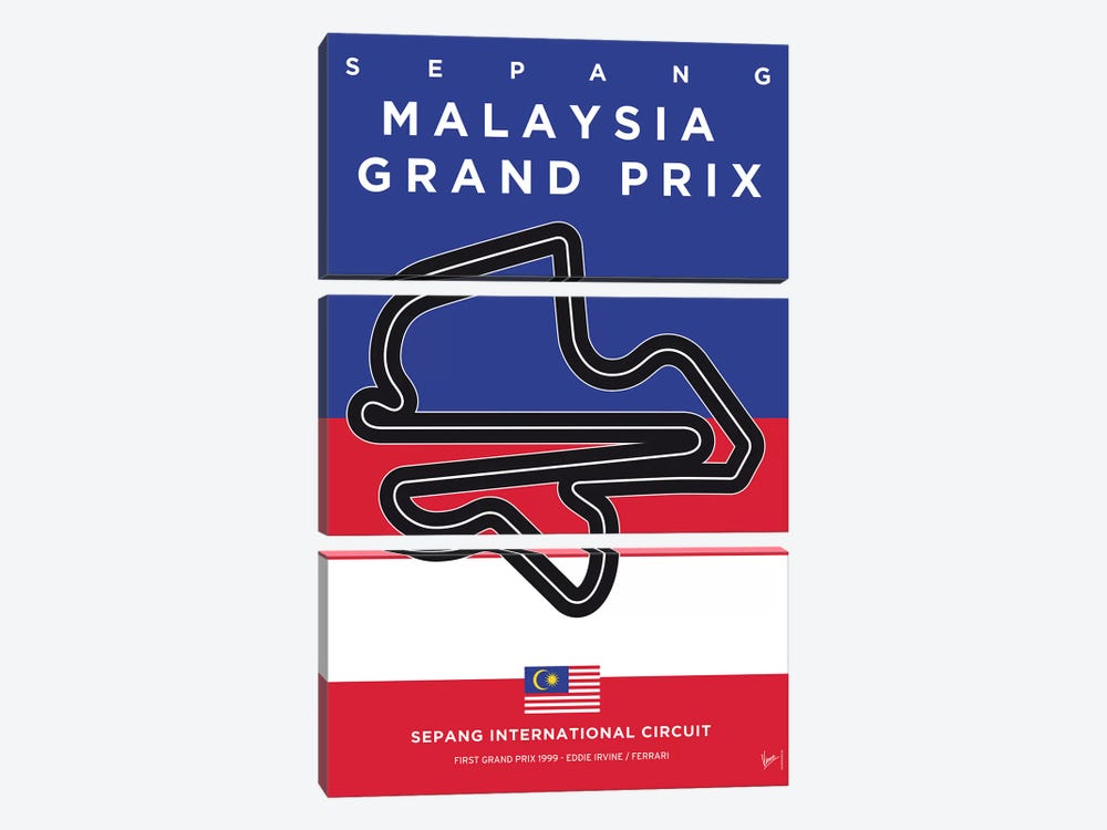 F1 Sepang Race Track Minimal Poster 3-piece Canvas Wall Art