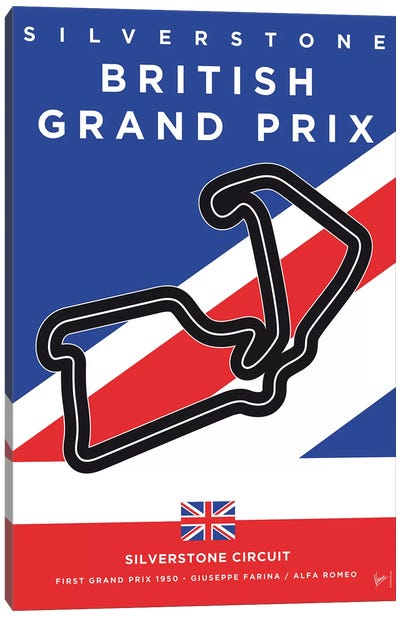 F1 Silverstone Race Track Minimal Poster Canvas Art Print