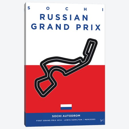 F1 Sochi Race Track Minimal Poster Canvas Print #CKG865} by Chungkong Canvas Artwork
