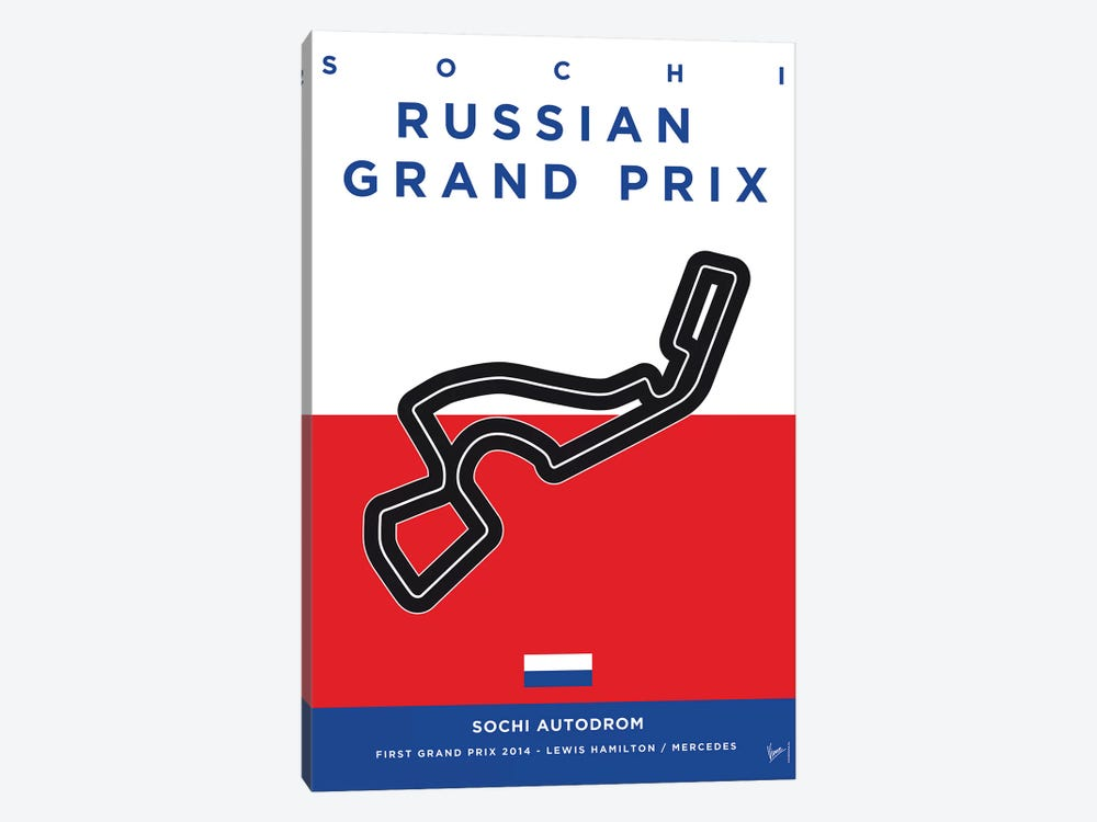 F1 Sochi Race Track Minimal Poster by Chungkong 1-piece Canvas Print