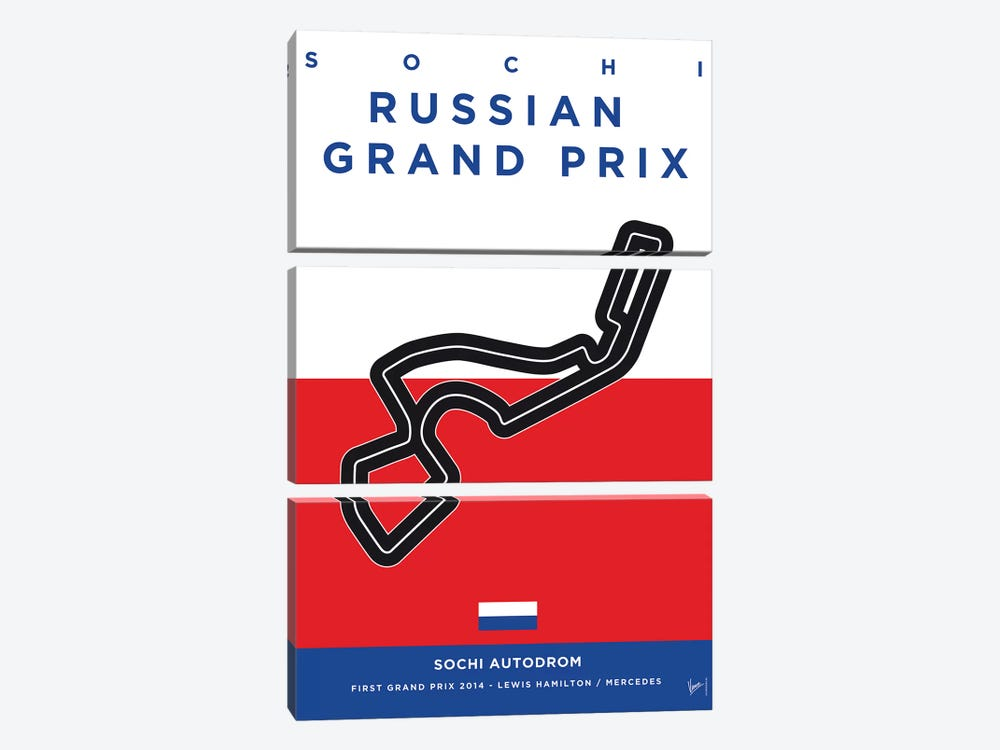F1 Sochi Race Track Minimal Poster by Chungkong 3-piece Canvas Art Print