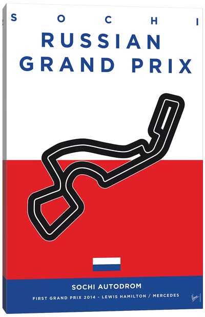 F1 Sochi Race Track Minimal Poster Canvas Art Print