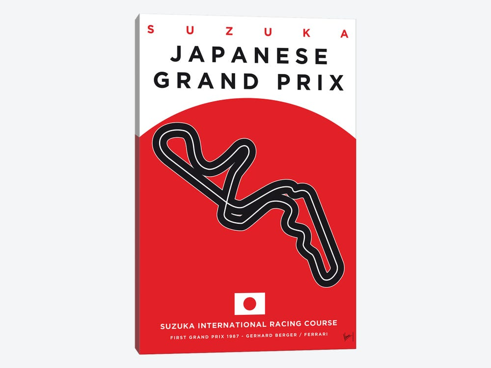 F1 Suzuka Race Track Minimal Poster 1-piece Canvas Artwork