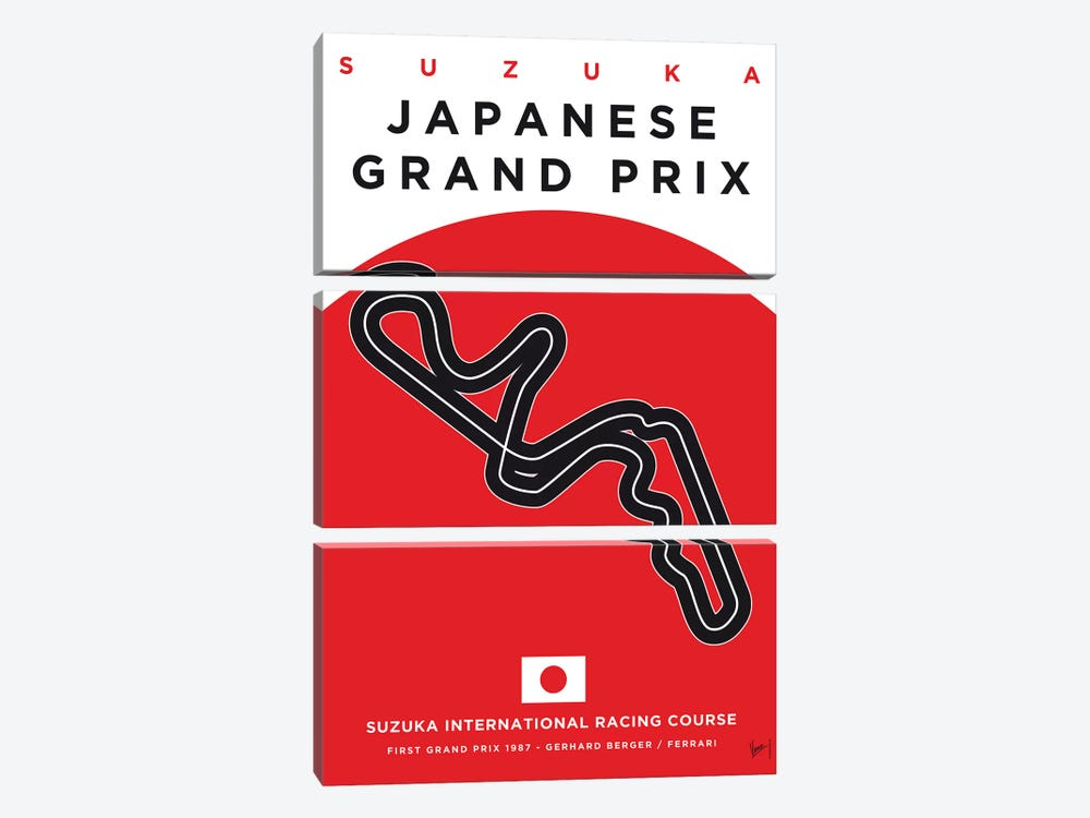 F1 Suzuka Race Track Minimal Poster by Chungkong 3-piece Canvas Art