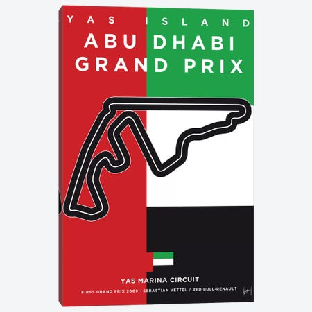 F1 Yas Marina Race Track Minimal Poster Canvas Print #CKG867} by Chungkong Canvas Wall Art