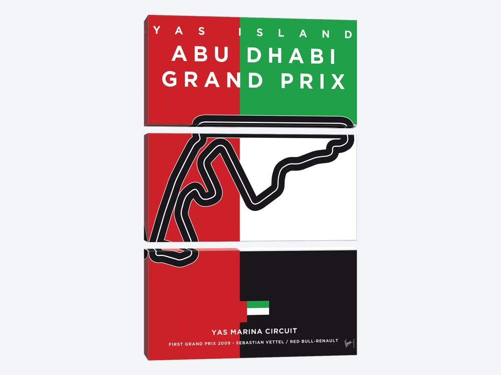 F1 Yas Marina Race Track Minimal Poster by Chungkong 3-piece Canvas Print