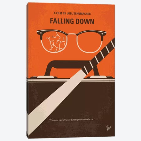 Falling Down Minimal Movie Poster Canvas Print #CKG869} by Chungkong Canvas Art Print