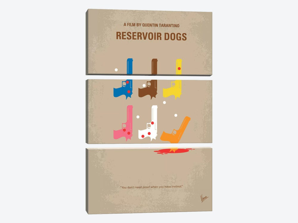 Reservoir Dogs Minimal Movie Poster by Chungkong 3-piece Canvas Art Print
