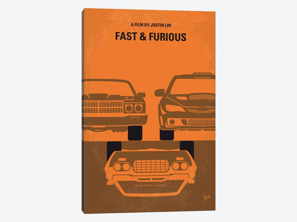 Fast And Furious Minimal Movie Poster by Chungkong 1-piece Canvas Art Print