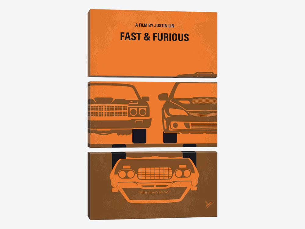 Fast And Furious Minimal Movie Poster by Chungkong 3-piece Canvas Art Print