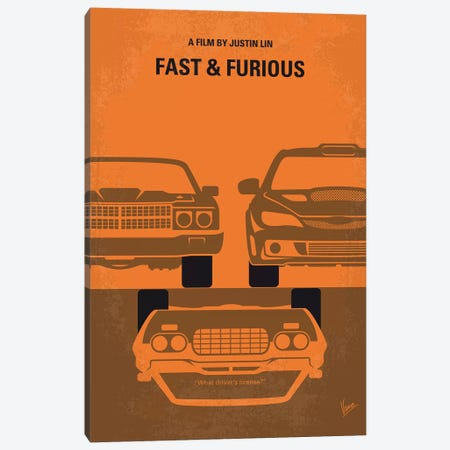 Fast And Furious Minimal Movie Poster 3-Piece Canvas #CKG870} by Chungkong Canvas Art
