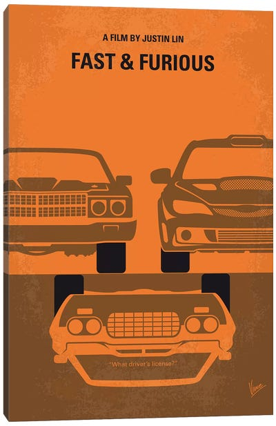 Fast And Furious Minimal Movie Poster Canvas Art Print