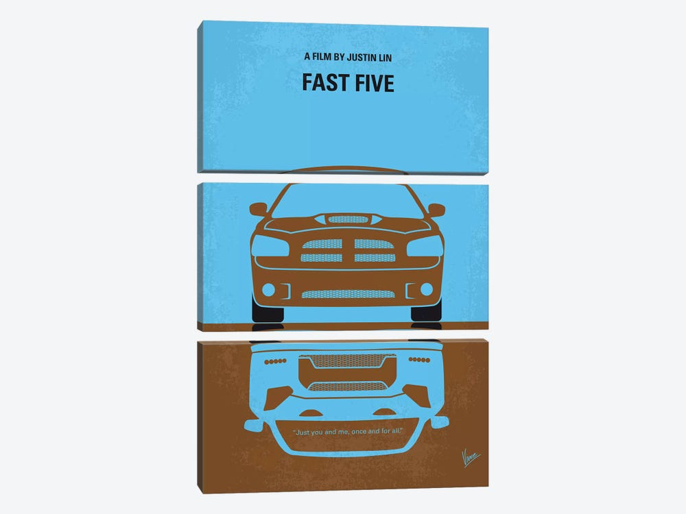 Fast Five Minimal Movie Poster by Chungkong 3-piece Canvas Artwork