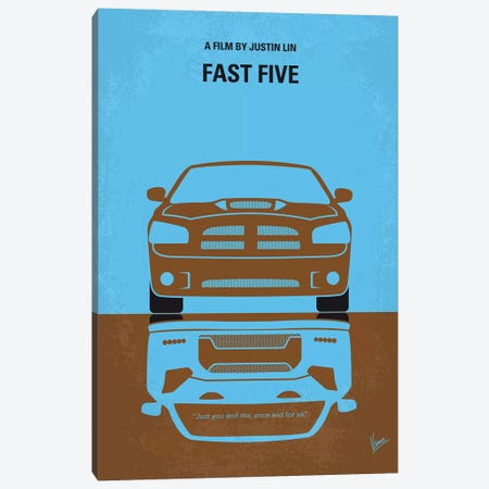 Fast Five Minimal Movie Poster 3-Piece Canvas #CKG871} by Chungkong Canvas Art