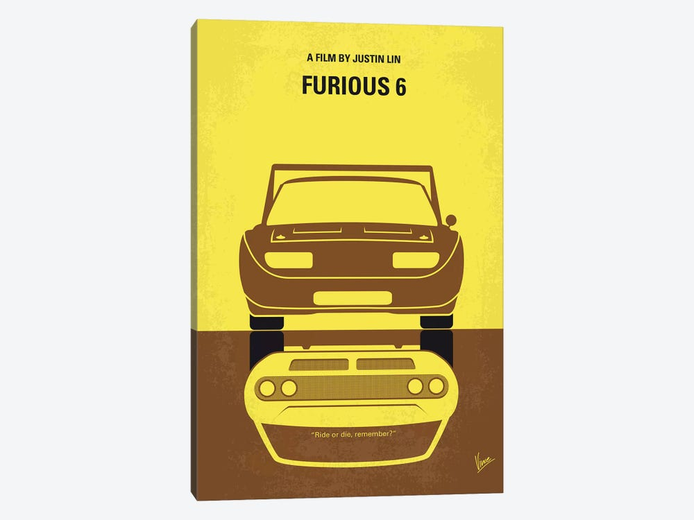 Furious 6 Minimal Movie Poster by Chungkong 1-piece Canvas Wall Art