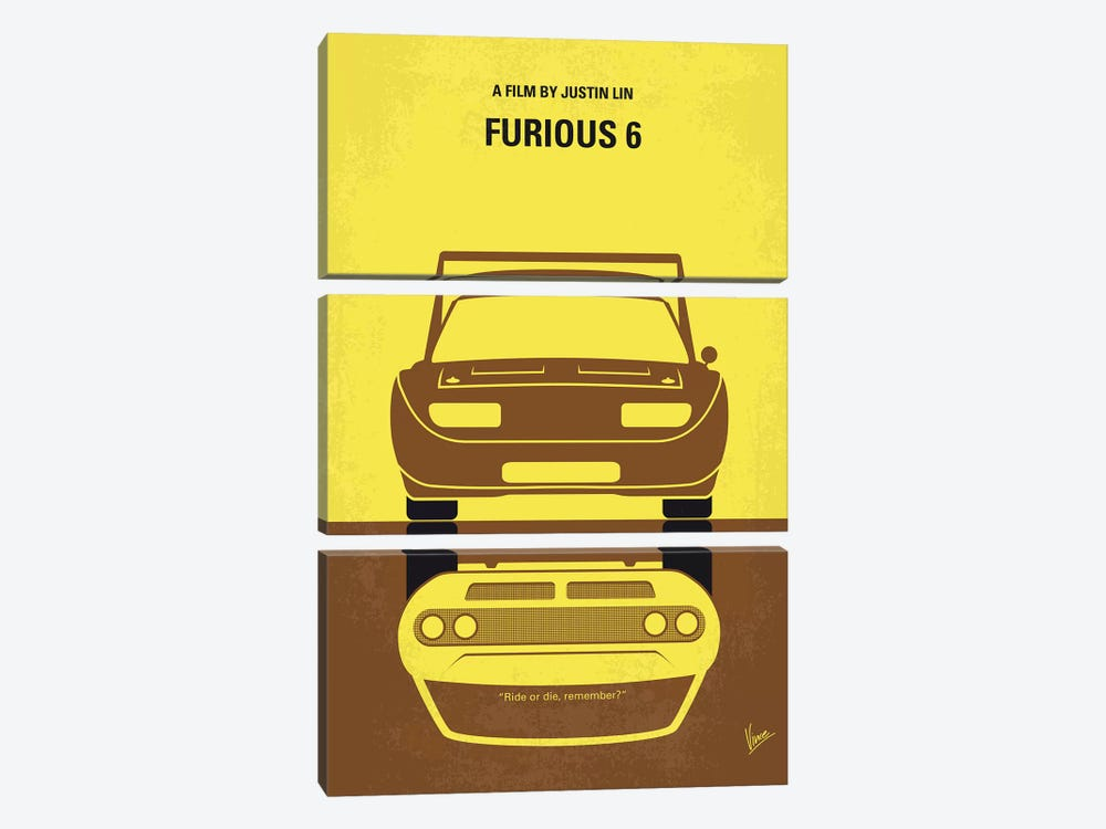 Furious 6 Minimal Movie Poster by Chungkong 3-piece Canvas Wall Art
