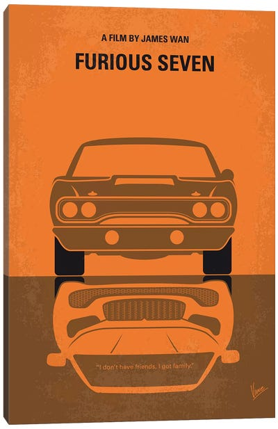 Furious 7 Minimal Movie Poster Canvas Art Print