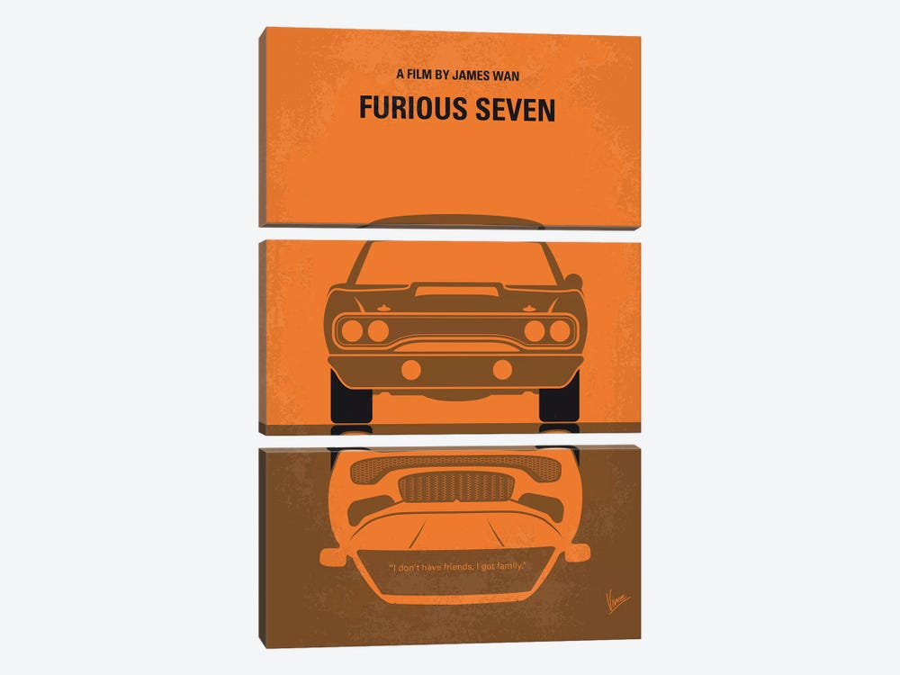 Furious 7 Minimal Movie Poster by Chungkong 3-piece Canvas Art Print