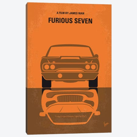 Furious 7 Minimal Movie Poster Canvas Print #CKG876} by Chungkong Art Print