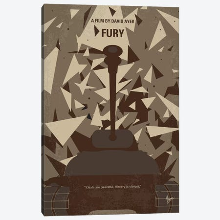Fury Minimal Movie Poster Canvas Print #CKG877} by Chungkong Art Print