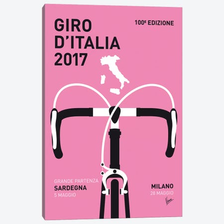 Giro Ditalia 2017 Minimal Poster Canvas Print #CKG879} by Chungkong Canvas Artwork