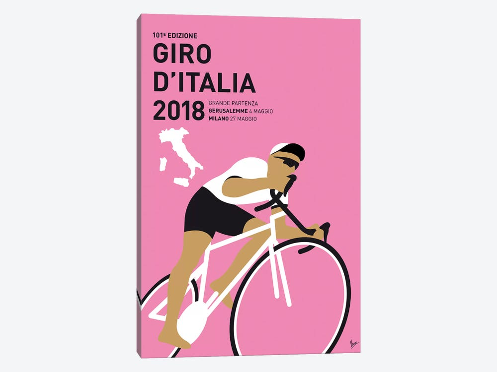 Giro Ditalia 2018 Minimal Poster by Chungkong 1-piece Canvas Art