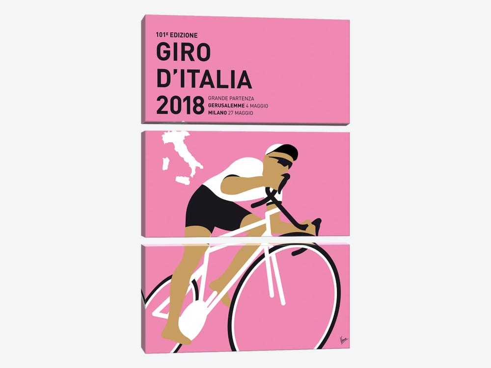 Giro Ditalia 2018 Minimal Poster by Chungkong 3-piece Canvas Artwork