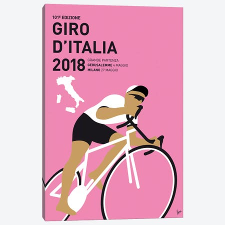 Giro d'Italia 2018 Minimal Poster 3-Piece Canvas #CKG880} by Chungkong Canvas Art Print