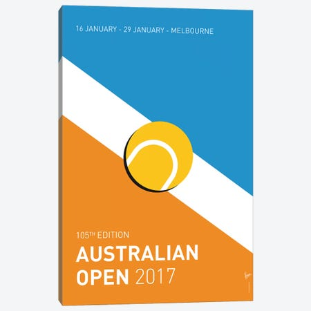 Grand Slam Australian Open 2017 Minimal Poster Canvas Print #CKG882} by Chungkong Canvas Print