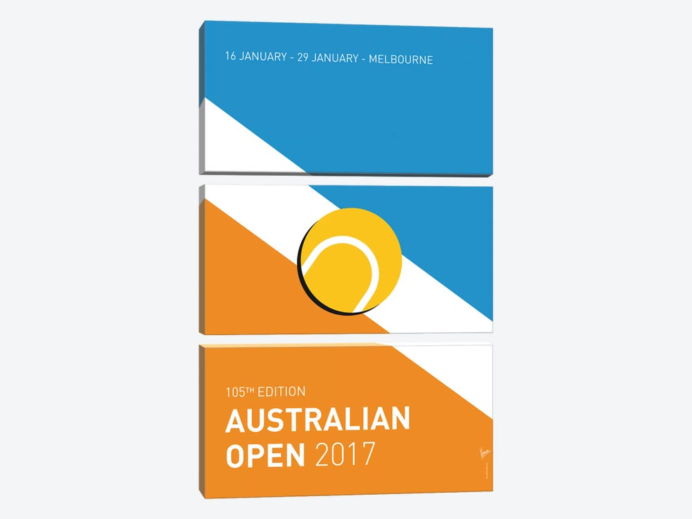 Grand Slam Australian Open 2017 Minimal Poster by Chungkong 3-piece Canvas Artwork