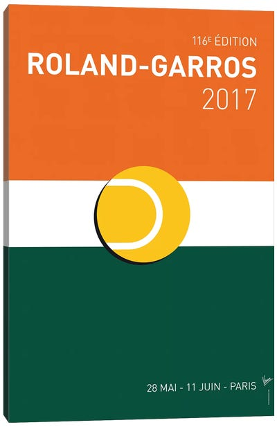 Grand Slam Rolandgarros 2017 Minimal Poster Canvas Art Print