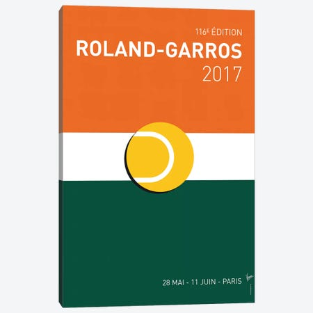 Grand Slam Rolandgarros 2017 Minimal Poster Canvas Print #CKG883} by Chungkong Canvas Print