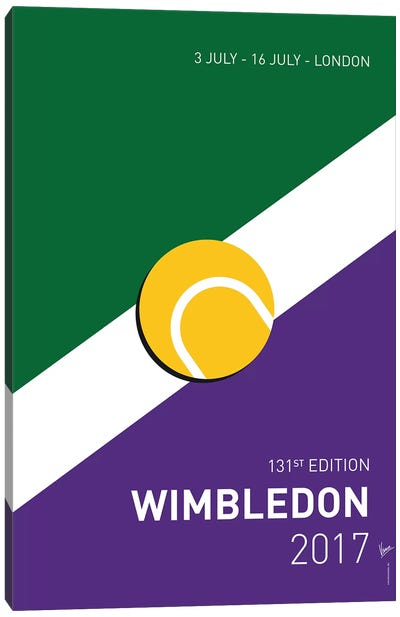 Grand Slam Wimbledon Open 2017 Minimal Poster Canvas Art Print