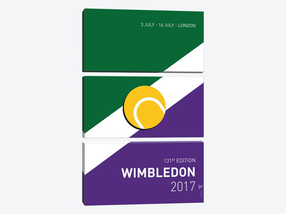 Grand Slam Wimbledon Open 2017 Minimal Poster by Chungkong 3-piece Canvas Print