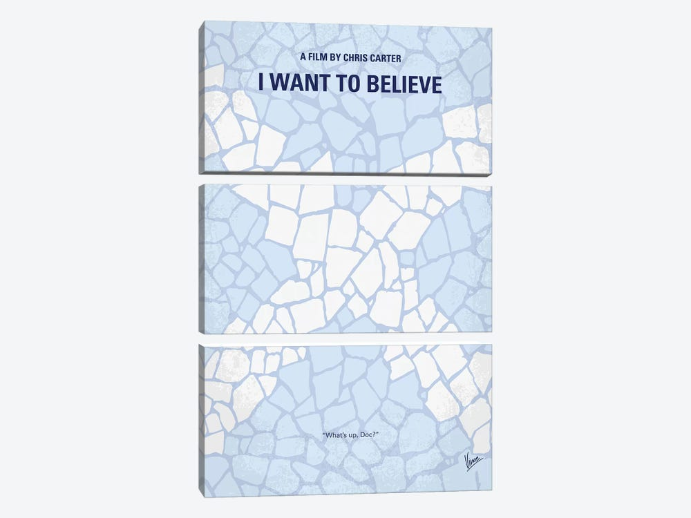 I Want To Believe Minimal Movie Poster by Chungkong 3-piece Canvas Wall Art