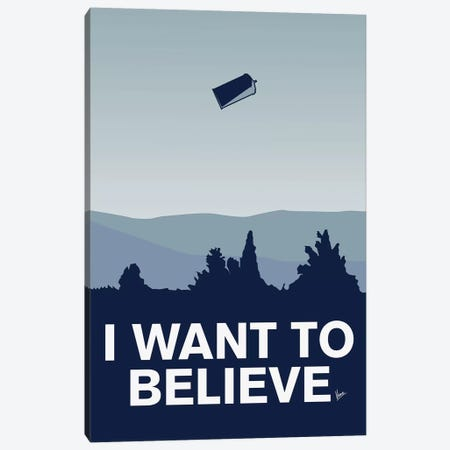 I Want To Believe Minimal Poster Tardis Canvas Print #CKG893} by Chungkong Canvas Wall Art