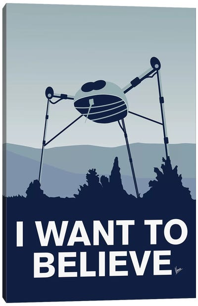 I Want To Believe Minimal Poster War Of The Worlds Canvas Art Print