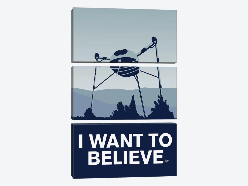 I Want To Believe Minimal Poster War Of The Worlds by Chungkong 3-piece Canvas Art Print