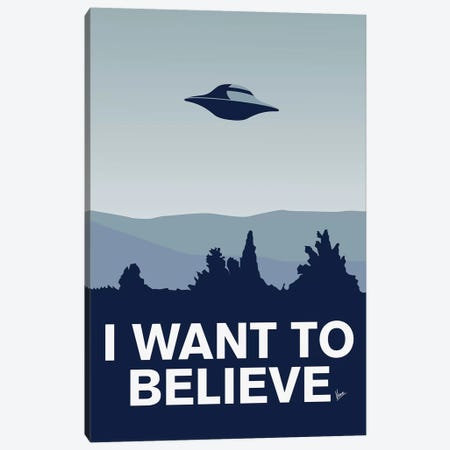 I Want To Believe Minimal Poster X-Files Canvas Print #CKG895} by Chungkong Canvas Art Print