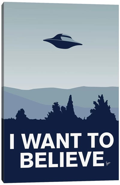 I Want To Believe Minimal Poster X-Files Canvas Art Print